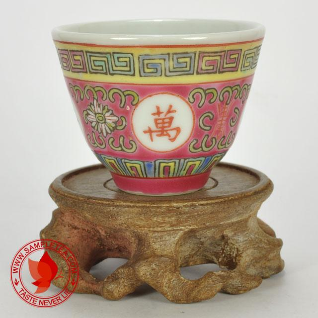 chinese tea 1970's-1980's Jingdezhen Wan Shou Wu Jiang Porcelain Teacup (Red), 60ml @ www.sampletea.com